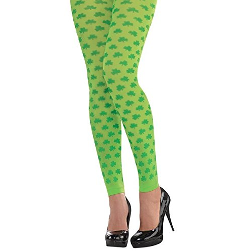 Amscan Lucky Irish St. Patrick's Day Shamrock Footless Tights Party Wearables (2 Piece), Green/Yellow Green, One Size