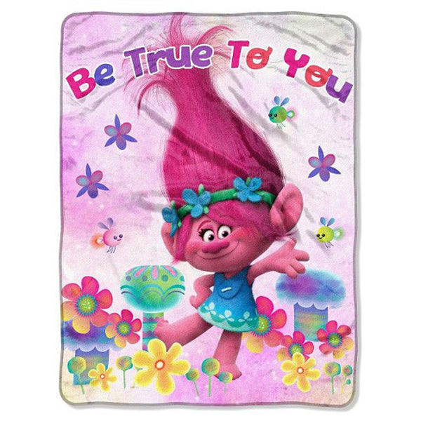 "Northwest Dreamworks Trolls ""Be True to You"" Super Plush Throw Blanket, 60 X 46 inches"