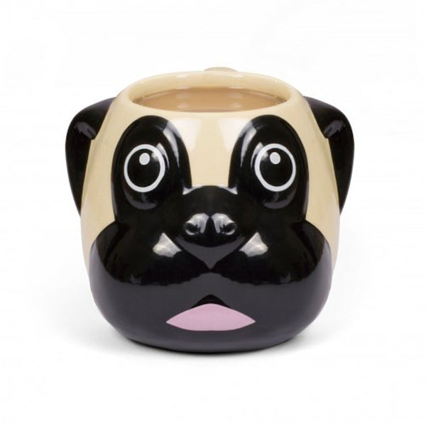 Thumbs Up! Pug Sculpted Ceramic Mug