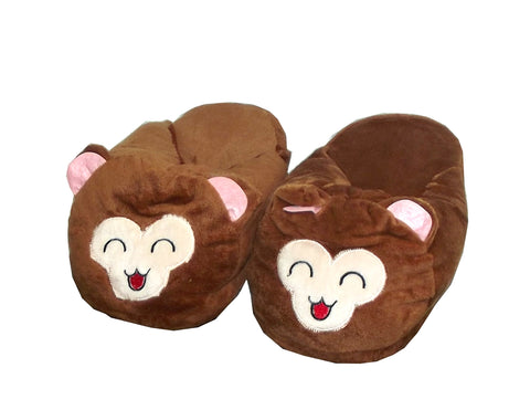 Royal Deluxe Plush Emoticon Style Monkey Adult's Slip-on House Slippers, Assorted, 1 pair