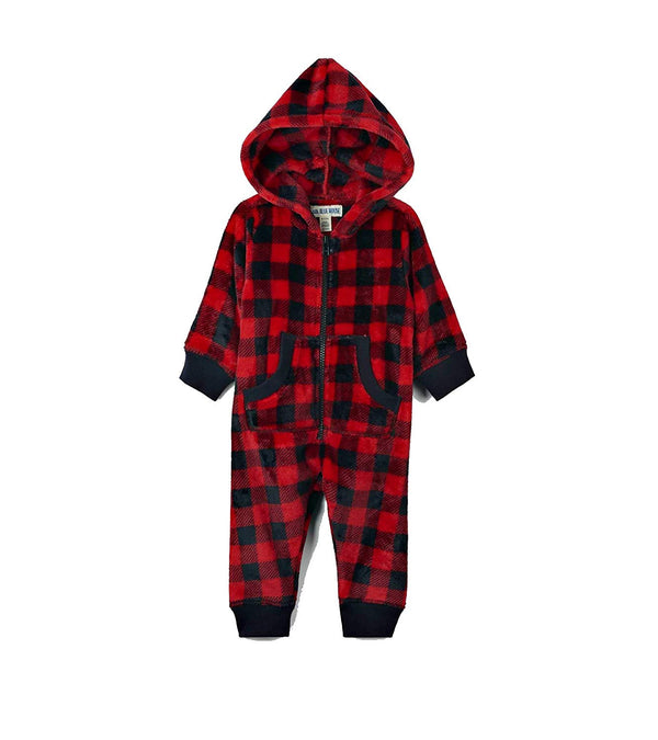 Little Blue House by Hatley Red and Black Plaid Children's Fleece Hooded Union Suit