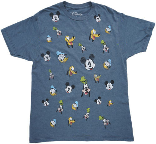 Disney Mickey Mouse Goofy Donald Duck Pluto All Over Front Men's T shirt