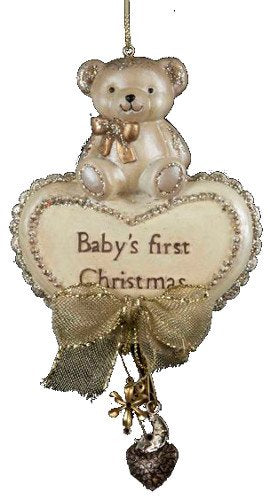 "Kurt Adler Resin ""babys First Christmas"" Bear W/heart Ornament"