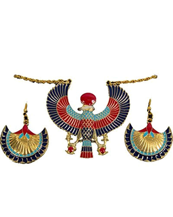 Egyptian Costume Jewelry Necklace & Earring Set