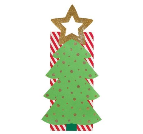 Christmas Tree Gitter Star Wine Gift Bag-1 piece