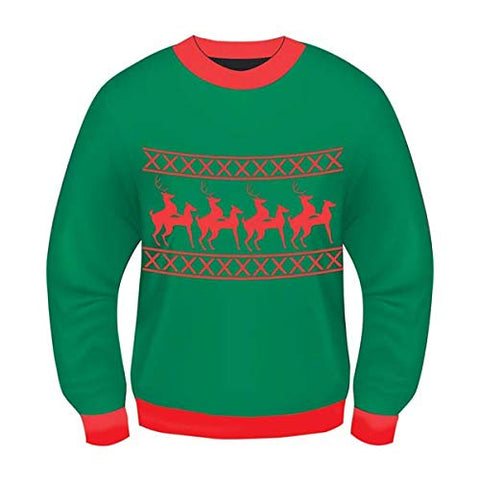 Forum Novelties Men's Plus Size Reindeer Games Novelty Christmas Sweater, Green/Red, X-Large