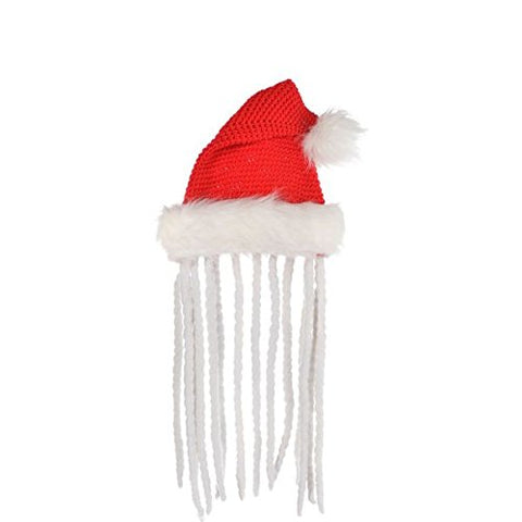 "Amscan Fun-Filled Christmas & Holiday Party Rasta Knit Santa Hat, 14"", Red/White"