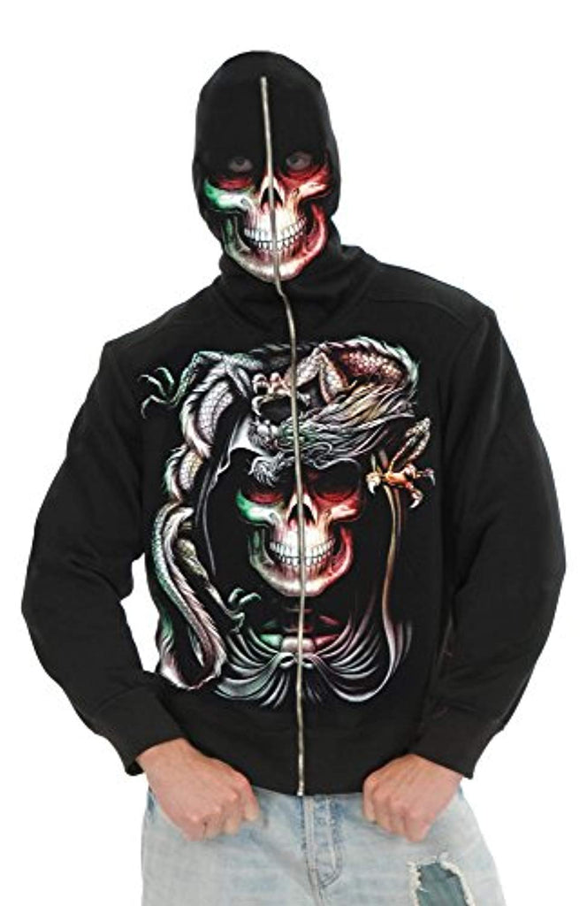 Charades Men's Serpent Skull Hoodie Costume