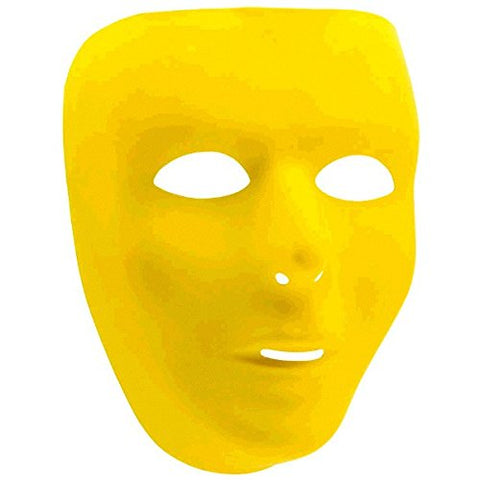 "Amscan Party Perfect Team Spirit Full Face Plastic Mask, 6 1/4"" x 7 3/4"", Yellow"