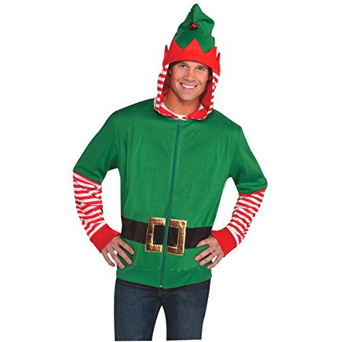 Amscan Fun-Filled Christmas and Holiday Party Elf Hoodie , Red/Green, Fabric , Pack of 1