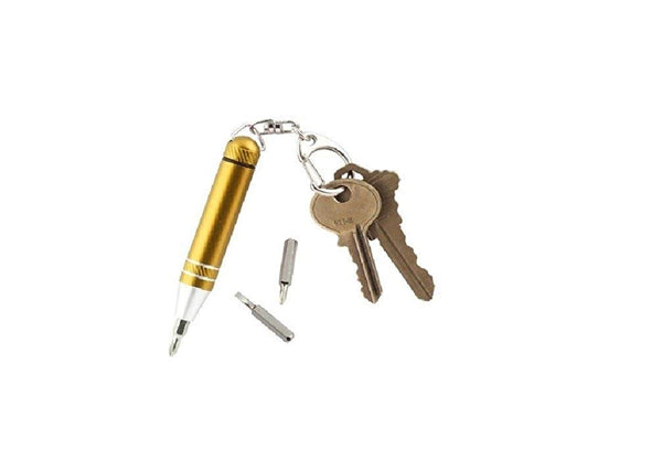 3-In-1 Screwdriver Keyring with Magnetic Tip and 3 Steel Driver Bits