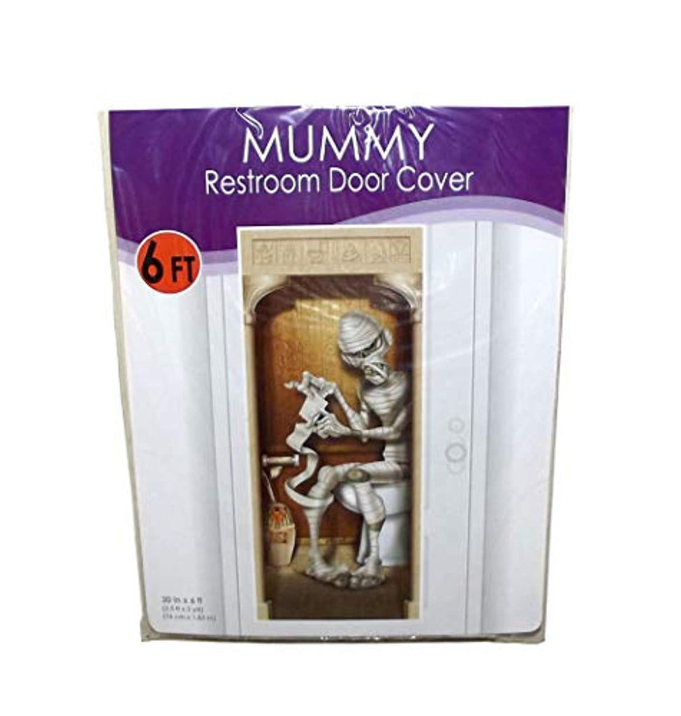 Beistle Mummy Plastic Bathroom Door Cover Halloween Decor, 72 X 30 inches