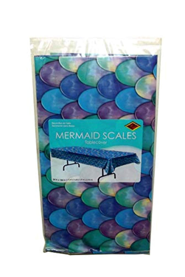 Beistle Watercolor Mermaid Scales Plastic Party Table Cover, 108 X 54 inches