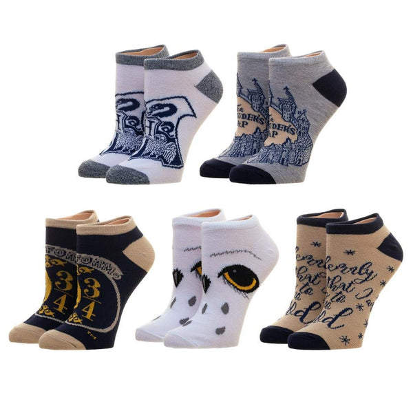 Harry Potter Wizarding World Adults' Ankle Socks, One Size, 5 count