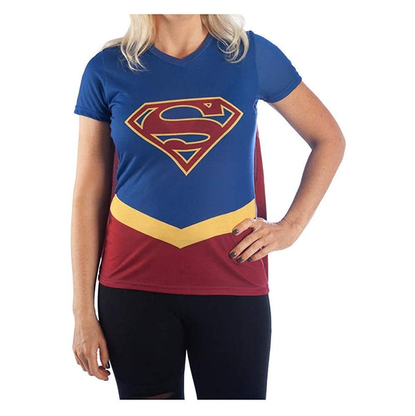 DC Comics Supergirl Women's V-Neck Costume Shirt with Attached Cape