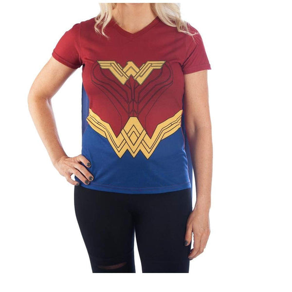 DC Comics Wonder Woman Women's V-Neck Costume Shirt with Attached Cape