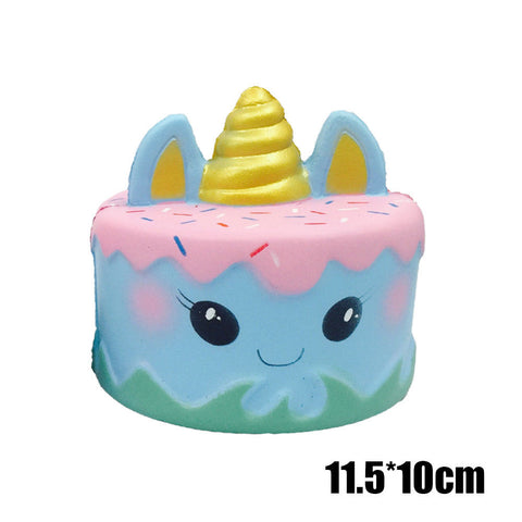 Cute Jumbo Squeezeables Scented Blue Ocean Unicorn Cake Squishies