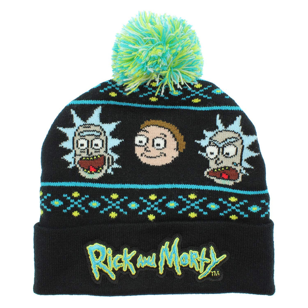 BioWorld Merch Rick and Morty Ugly Sweater Style Knit Beanie, One Size