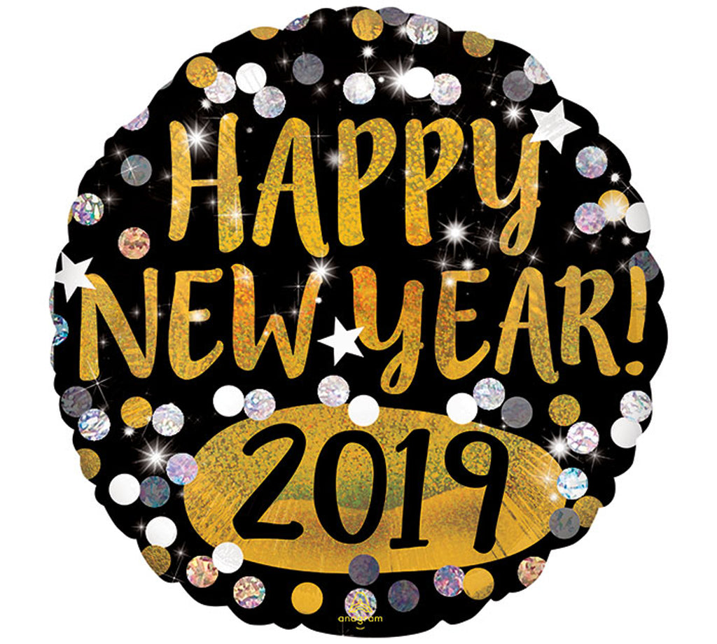 "Anagram ""Happy New Year! 2019"" Sparkling Dots Black, Gold, White, and Silver Party Balloon"