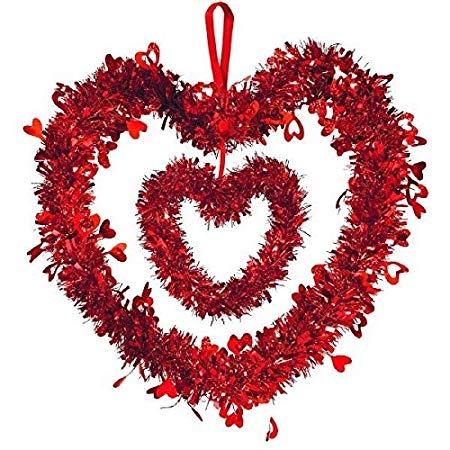 Amscan 241285 Double Heart w/Ribbon Hanger Tinsel Decoration, 12 x 12 inches, Red