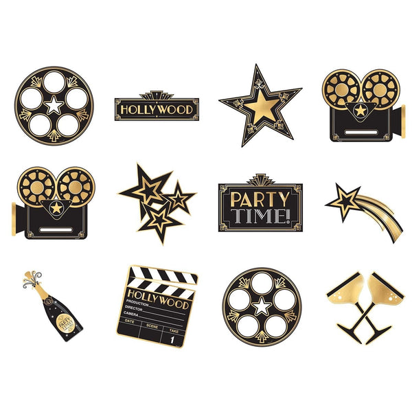 Amscan 191896 Cutouts Party Décor, Multi Sizes, Black & Gold