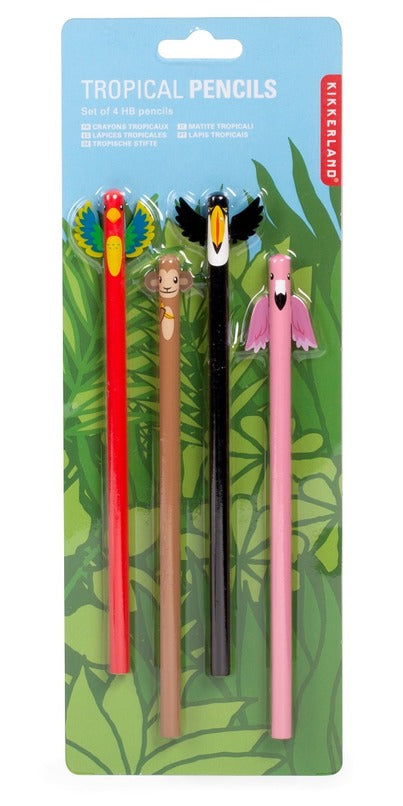 Kikkerland Tropical Pencils, Set of 4