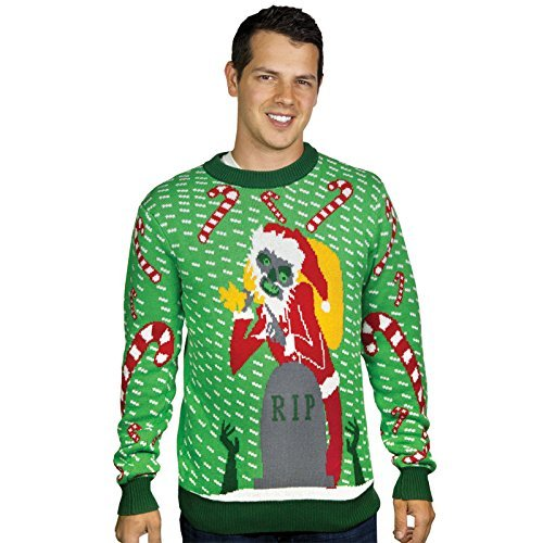 Zombie Santa Christmas Sweater- FunQi, Green