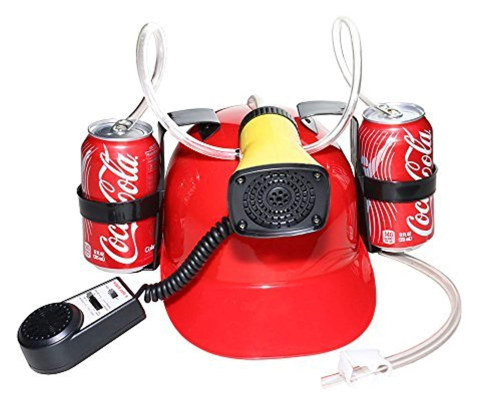 DG SPORTS Beer Cola Soda Helmet Hard Hat Can Holder Drink Night Party Game w/ Siren 7 Different Sounds