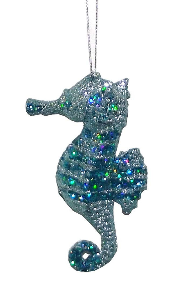 Kurt Adler Glittered Seahorse Hanging Tree Ornament, Assorted, 1 Count