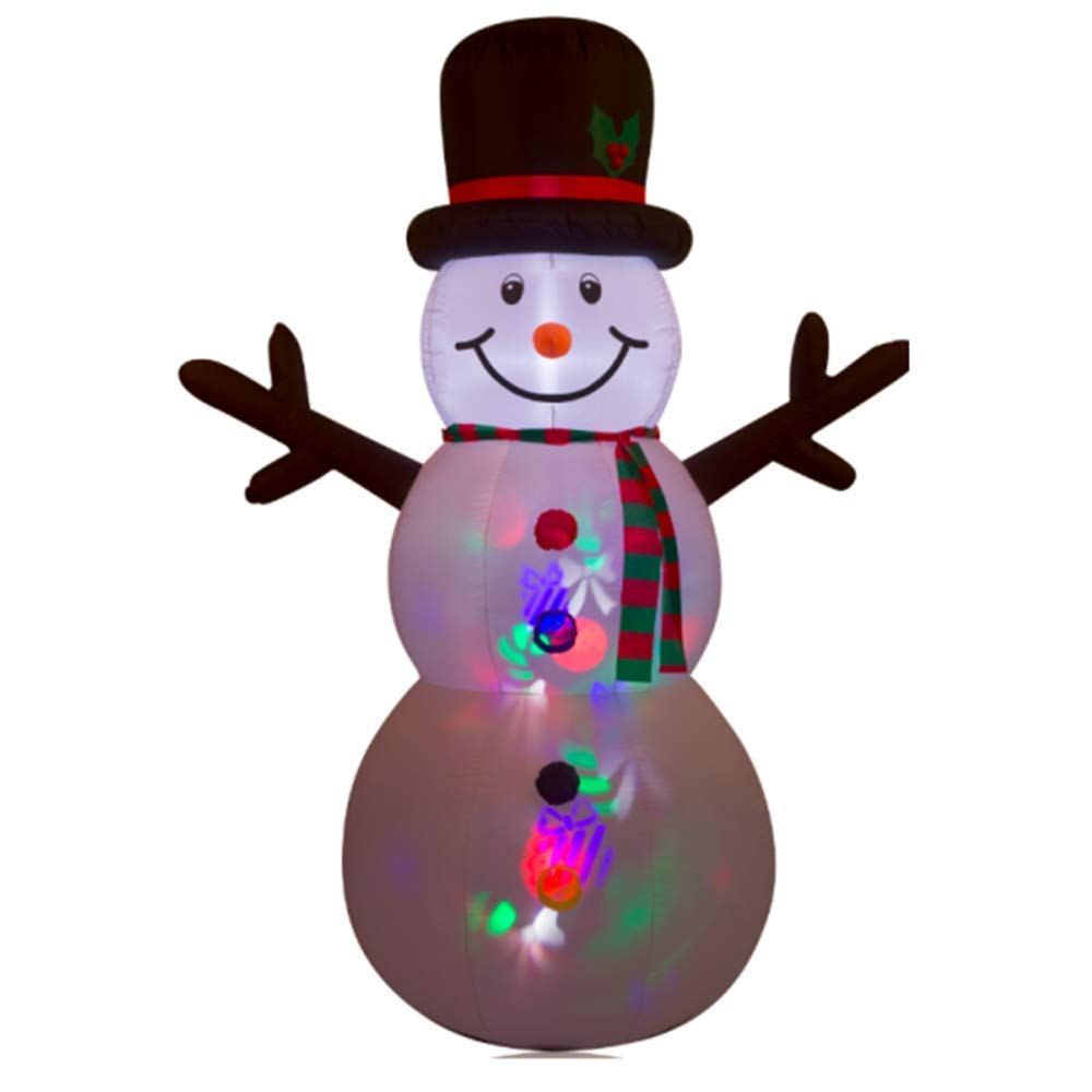 8FT Inflatable Snowman with Projection Lighting Indoor Outdoor Christmas Holiday Decorations