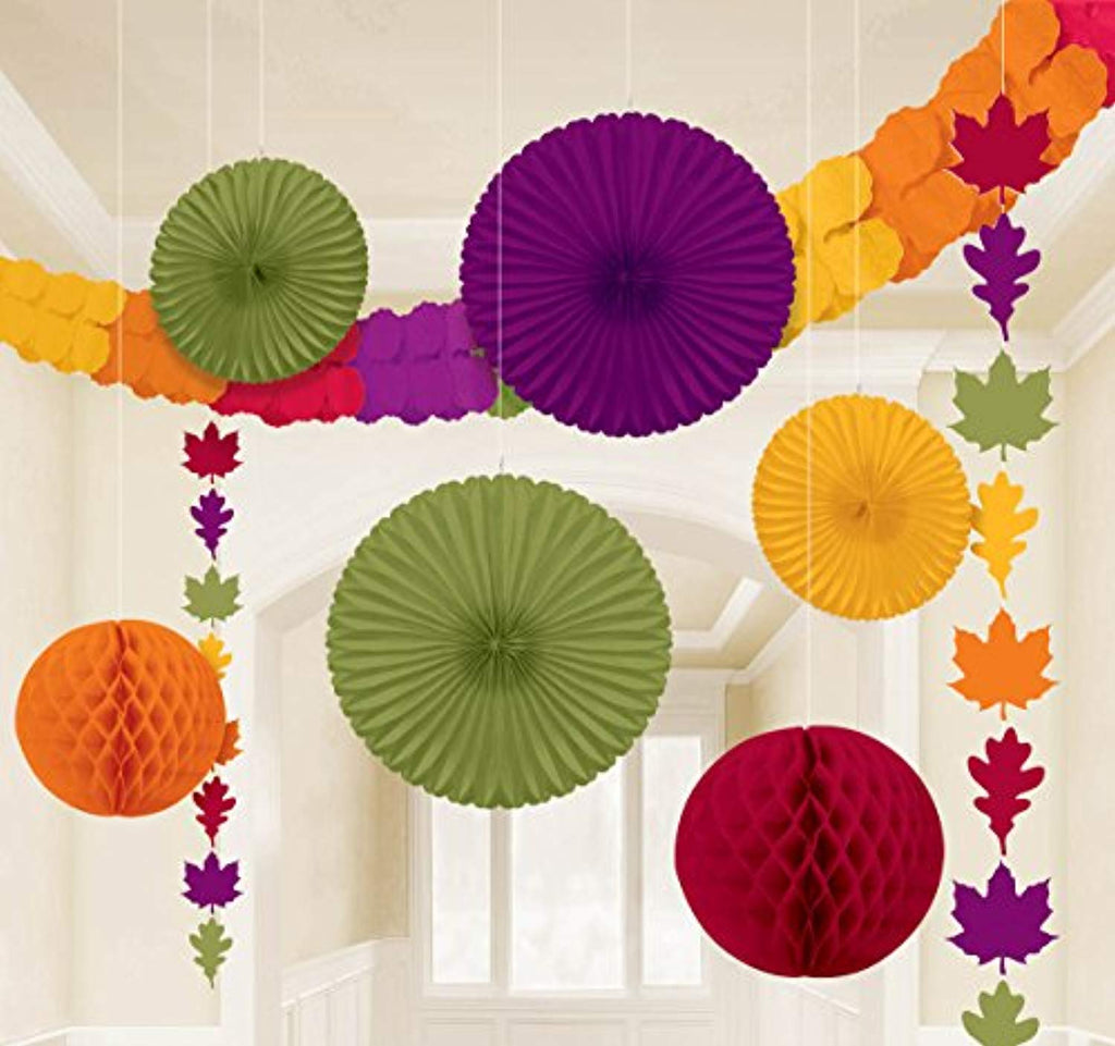 "Amscan Colors of Fall Thanksgiving Party Assorted Hanging Decorating Kit (Pack of 9), Multicolor, 15.5"" x 10.5"""