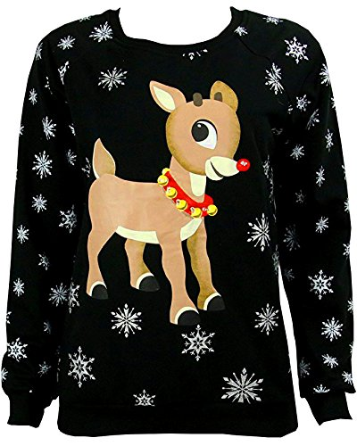 Freeze Light up Rudolph Snowflake Jr Black Sweater
