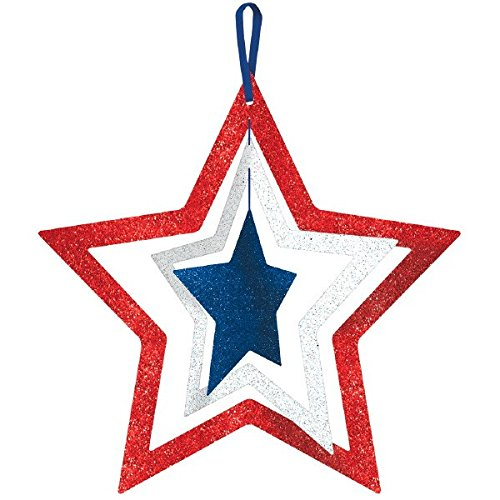 "Amscan Patriotic Fourth of July Party Spinning Glittered Stars Decoration, Fiberboard, 14"" x 14"""
