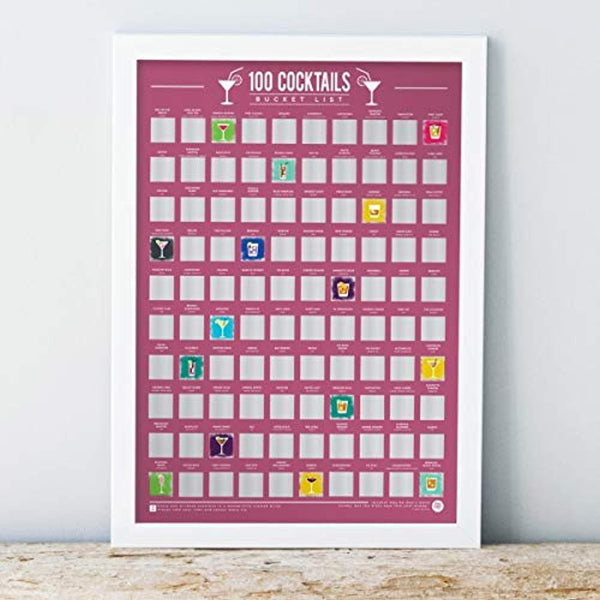 100 Cocktails - Scratch Off Bucket List Poster