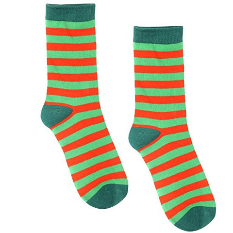 "Amscan Fun-Filled Christmas and Holiday Party Red & Green Stripe Crew Socks, Red/Green, Fabric, 13 1/2"", Pack of 2"