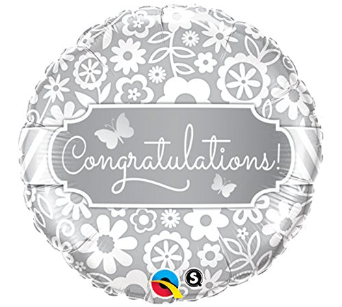 "18"" Silver Flowers Congratulations Foil Balloon"