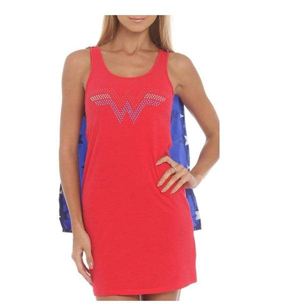 WONDER WOMAN NAILHEAD LOGO SLEEP TANK WITH CAPE (LARGE)