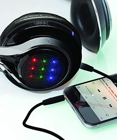 Wireless Bluetooth Headphones LED Rave Festival DJ Stereo Professional Headset HD Beats Full Device Control Crisp Clean Bass Treble for iPhone Ipad iPod Android Samsung Etc (Flashmate LED Headphones)