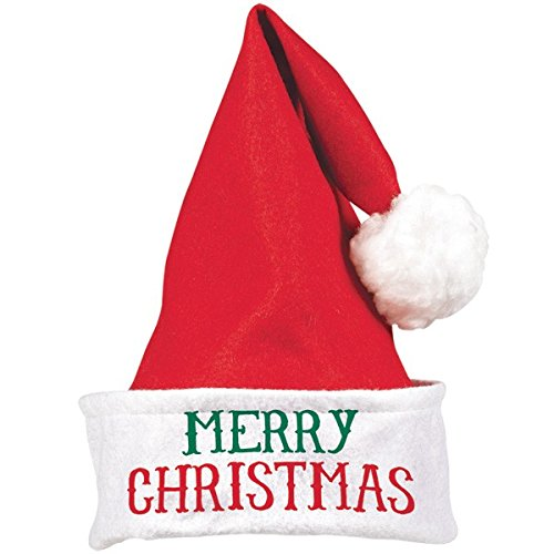 "Amscan 392069 Merry Christmas Santa Hat, 15"" x 11"", Red/White"