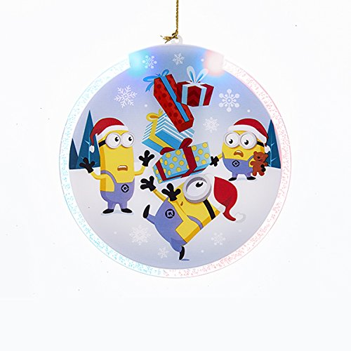 "Kurt Adler DESPICABLE ME BATTERY OPERATED LED DISC ORNAMENT - USES 2"" CR2032 BUTTON CELL BATTERIES (INCLUDED)"