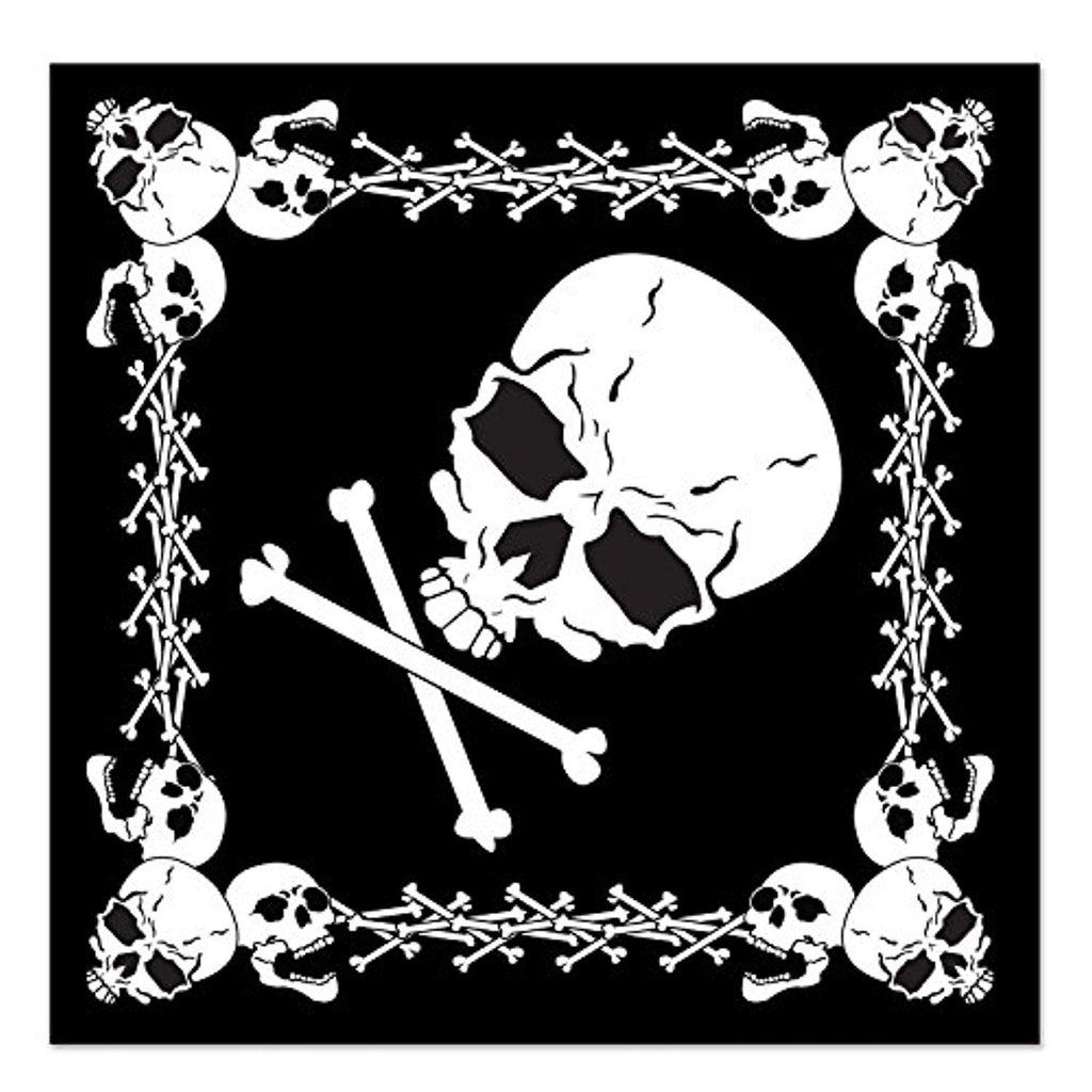 Beistle 60874 Skull and Crossbones Bandana, 22 by 22-Inch, Black/White