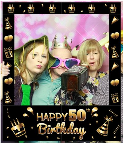 Aahs Engraving Happy 50th Birthday Party Photo Frame Prop, 35 X 30 inches