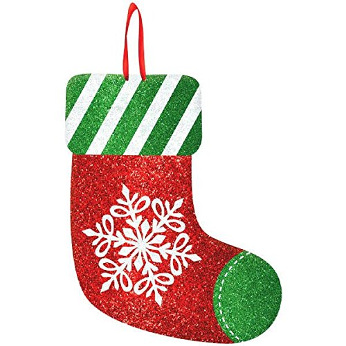 "Holiday Cheers Christmas Party Medium Stocking Hanging Sign Decoration, Red/Green/White, Fiberboard, 11 3/4"" x 9"", 1-Piece"