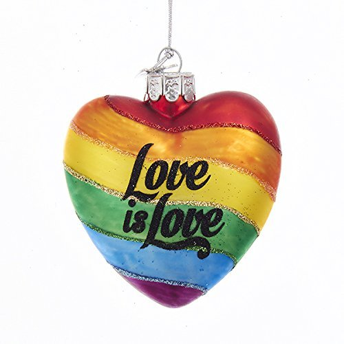 Gliterry Rainbow Love is Love Glass Heart Ornament