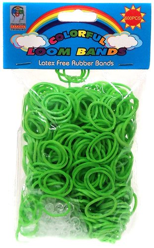 Colorful Loom Bands 600 GREEN Rubber Bands