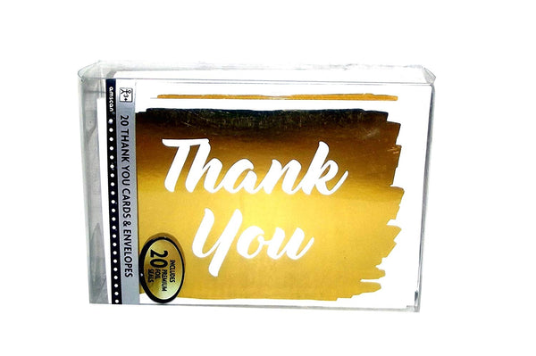 Thank You Cards party-invitations One Size Gold [20 Per Pack]