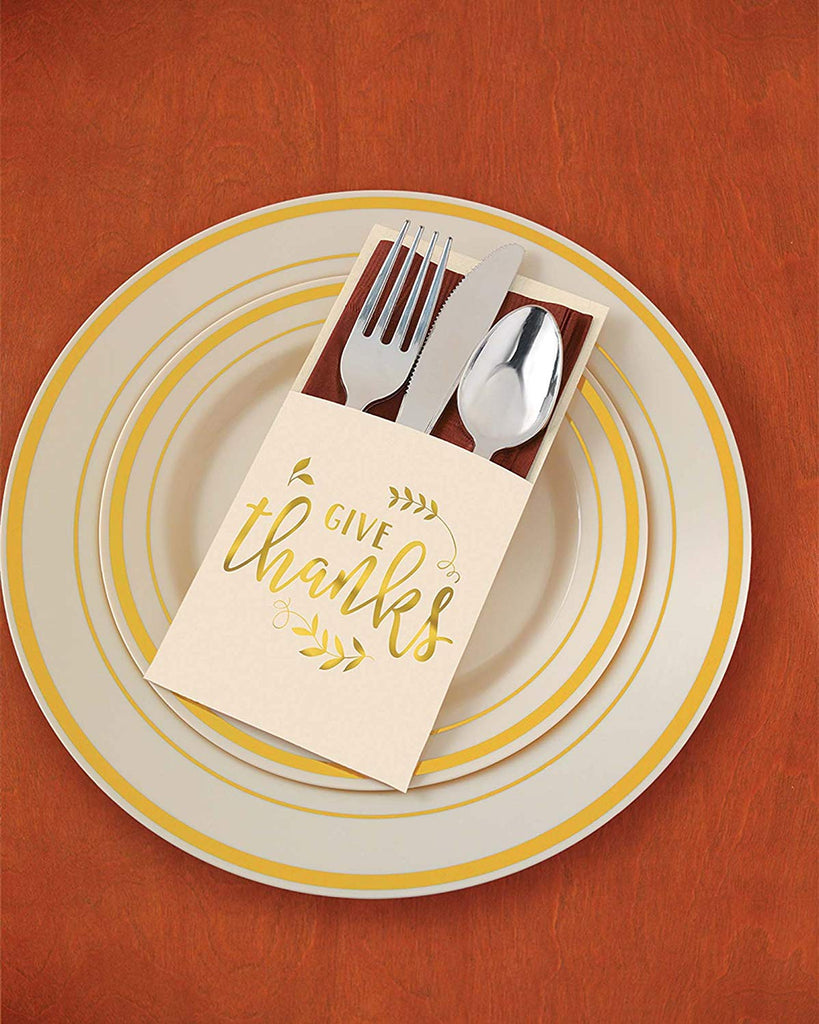 """Give Thanks"" Thanksgiving Cutlery Holders, 7.5"" x 4.8"", 12 Ct."
