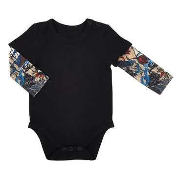 Stephan Baby Snapshirt-Style Diaper Cover with Tattoo Sleeves, Black, Fits 6-12 Months