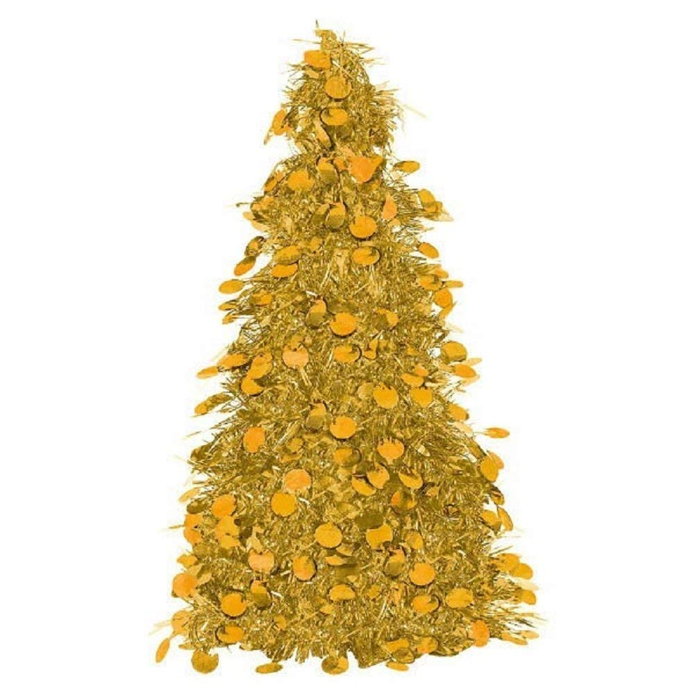 GOLD TINSEL TREE TABLE CENTERPIECE