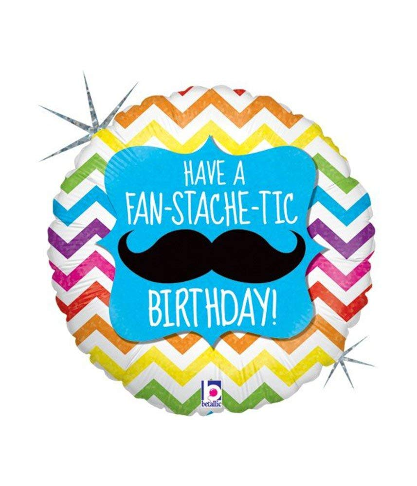 "18"" Fan-Stache-tic Birthday Holographic Balloon"